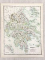 1896 Antik Map Of Griechenland Griechische Inseln Korfu Paxo Ionia 19th Century
