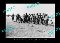 OLD LARGE HISTORIC PHOTO AUSTRALIAN BOER WAR TROOPS WITH PRISONERS c1900