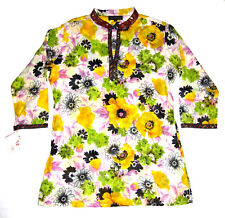 Lakshita India Sequin Tunic Shirt Sheer Floral Yellow Purple Womens Sz Large NEW