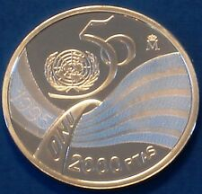 Spain 2000 pesetas silver proof 1995 United Nations 50th Anniversary
