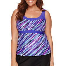 Zeroxposur Stripe Tankini Swimsuit Top Size 16W, 18W Msrp $52.00 Tanzanite