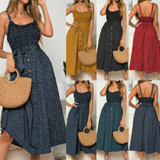 Women Sleeveless Polka Dot Beach Dress Ladies Summer Holiday Midi Sundress 6-16