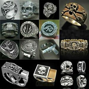Heavy Stainless Steel Gothic Punk Biker Ring Fashion Men's Skull Jewelry Sz 6-13