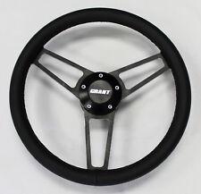 "Bronco F100 F250 Torino Black Leather on Black Billet Steering Wheel 14 3/4"""