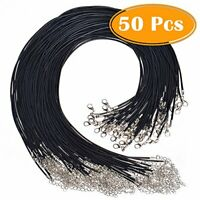 "50Pcs 18"" Black Waxed Necklace Cord for Jewelry Making"