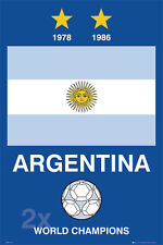 Argentina Football Soccer 1978, 1986 FIFA WORLD CUP CHAMPIONS Poster