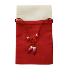 Silk jewellery pouch, red & beige