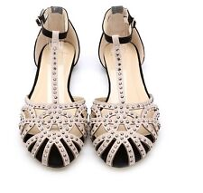 GLADIATOR RHINESTONE FLAT SHOES SANDALS CUT OUT OPEN TOE SIZE 3 4 5 6 7 8 UK