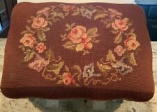 Antique French Foot Stool Ottoman Needlepoint Floral Carved Wood Beautiful 14�