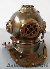 Antique Mini Diving Diver Helmet Collectibles U.S Navy Brown Nautical Vintage