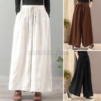 ZANZEA 8-24 Women Drawstring Tie Elastic Waist Pants Culottes Wide Leg Trousers