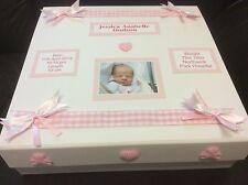 Photo Personalised New Baby Girl Keepsake Memory Box Christening Gift Present