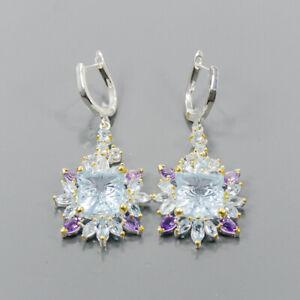 Vintage Blue Topaz Earrings Silver 925 Sterling   /E57789