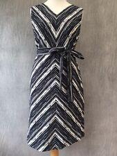 GOAT Demetrius Designer Dress 14 Belted stripe sleeveless Black White Flare E18