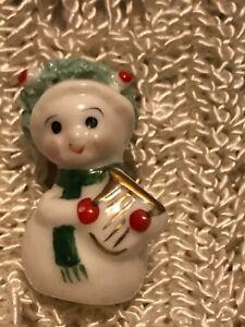Vtg. Napco Christmas mini figure snowman with harp spaghetti trim