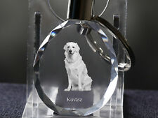 Kuvasz, Dog Crystal Round Keyring, High Quality, Crystal Animals Usa