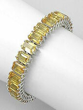 "6.5"" Solid Sterling Silver 9mm Genuine Natural Yellow Citrine Bracelet 32.8g"