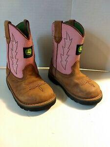 Toddler Girls John Deere Boots Pink Sz 7.5