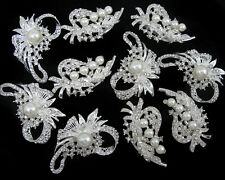 Wholesale 10x Pearl Crystal Rhinestone Brooch Pins Wedding Bridal Bouquet Craft