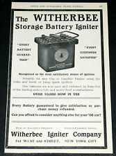 1906 OLD MAGAZINE PRINT AD, WITHERBEE AUTOMOBILE STORAGE BATTERY IGNITER, SPARK!