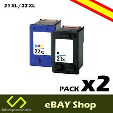 2 Cartuchos Compatibles 21 XL Negro y 22 XL Color para HP Deskjet F390