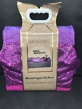 "LULU & COCO Mermaid Sequins Tail Throw 21"" x 50"" Purple/Rainbow 100% poly     A7"