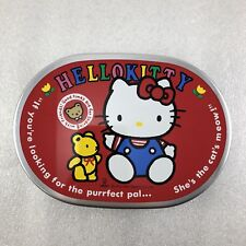 R8 Vintage Japanese Sario Hello Kitty 1990 Tin Lunch Bento Food Box