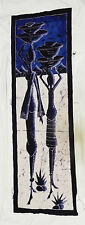 Original African Batik Art - Large Signed Batik Painting from Senegalese Artist