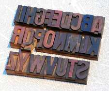 "A-Z alphabet 1.77"" letterpress wooden printing blocks wood type Vintage printer"