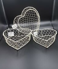 3 Different Size Heart Shaped Cream Wire Baskets Makeup Jewellery Shabby Chic