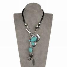 Charm Genuine Turquoise Teardrop Beads Butterfly Bib Collar Pendant Necklace