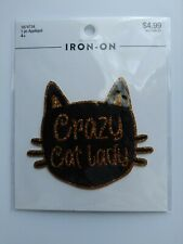 "Design Loft ""Crazy Cat Lady"" Iron On Applique approx 3.5 in x 2.5 in"