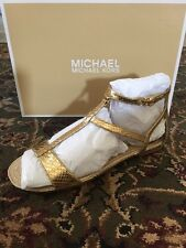 MICHAEL MICHAEL KORS BRIA FLAT PALE GOLD SANDALS SZ 8 1/2 NEW IN BOX $135