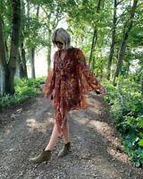 Topshop IDOL Floral Tassel Floaty Mini Dress - Red - UK10 NEW