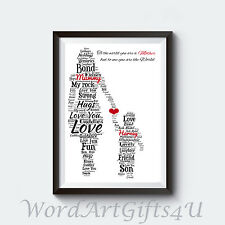 PERSONALISED Mum Mummy and Son A4 Word Art Print Christmas Birthday any Occasion