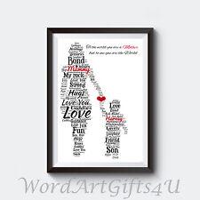 PERSONALISED Mum Mummy and Son A4 Word Art Print Birthday Gift
