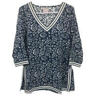 Gretchen Scott Womens L Large Long Sleeve Blue Floral Blouse Top Ladies V Neck