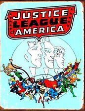 "Justice League America TIN METAL SIGN Retro DC Comics 16"" x 12.5"" Vintage New"