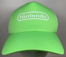 Nintendo Neon Green Cap Video Games Trucker Hat Mario Bros Gaming Console NES