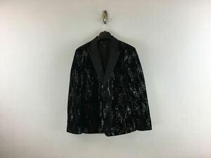 Men's ASOS Skinny Suit Jacket in Velvet & Sequins -Size 40in, Black
