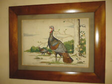 Vintage cross stiched Picture 1980's Wild Turkeys Gobblers antique wood frame