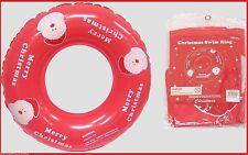 Santa MERRY CHRISTMAS 90cm Red SWIM RING TUBE Inflatable Beach Pool Toy