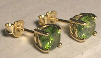Peridot Earrings:  5mm Natural, Untreated, Excellent Brightness 14k Gold Plated