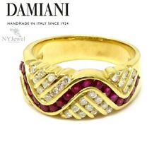 NYJEWEL Damiani 18k Yellow Gold 1.1ctw Ruby & Diamond Wavy Band Ring