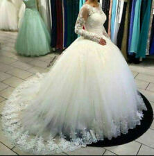 Princess Lace A-Line White/Ivory Wedding Dresses Bridal Gown Custom UK SIZE 6-30