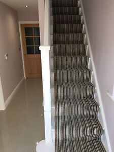 STAIR OR HALL CARPET RUNNER Green Cream Brown Neutrals made to measure any size
