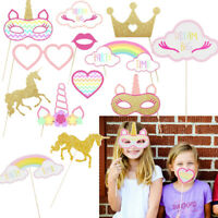 Wedding Birthday Party Photo Booth Props Kit Rainbow Unicorn Pegasus With Stick