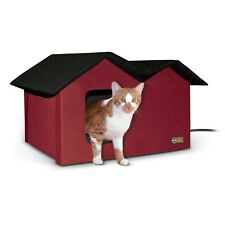 KH Mfg EXTRA WIDE 2 Exit Outdoor Multiple Cat Pet House HEATED Red Black