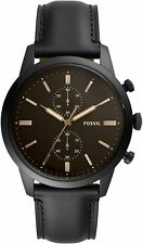 Fossil Men's Townsman Fs5585 44mm Brown Dial Leather Watch