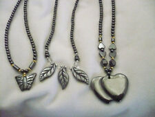 lot 3 black hematite necklaces butterfly, leaves & double heart gold&white beads